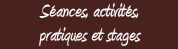 Menu s�ance, pratique et stages